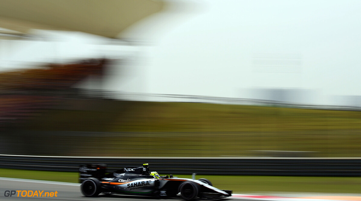Formula One World Championship Sergio Perez (MEX) Sahara Force India F1 VJM09. Chinese Grand Prix, Friday 15th April 2016. Shanghai, China. Motor Racing - Formula One World Championship - Chinese Grand Prix - Practice Day - Shanghai, China James Moy Photography Shanghai China  Formula One Formula 1 F1 GP Grand Prix China Chinese Shanghai Shanghai International Circuit JM551 Sergio P?rez Sergio P?rez Mendoza Checo Perez Checo P?rez Action Track GP1603b