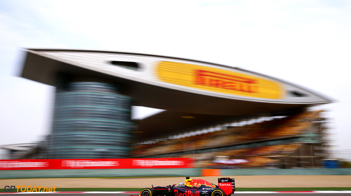 SHANGHAI, CHINA - APRIL 15: Daniel Ricciardo of Australia driving the (3) Red Bull Racing Red Bull-TAG Heuer RB12 TAG Heuer on track during practice for the Formula One Grand Prix of China at Shanghai International Circuit on April 15, 2016 in Shanghai, China.  (Photo by Dan Istitene/Getty Images) // Getty Images / Red Bull Content Pool  // P-20160415-00350 // Usage for editorial use only // Please go to www.redbullcontentpool.com for further information. //  F1 Grand Prix of China - Practice Dan Istitene Shanghai China  P-20160415-00350