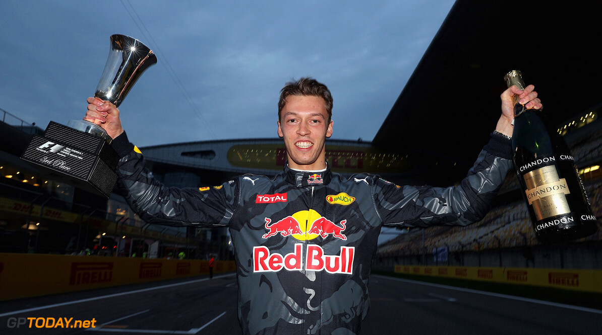 SHANGHAI, CHINA - APRIL 17:  Daniil Kvyat of Russia and Red Bull Racing celebrates his third place during the Formula One Grand Prix of China at Shanghai International Circuit on April 17, 2016 in Shanghai, China.  (Photo by Mark Thompson/Getty Images) // Getty Images / Red Bull Content Pool  // P-20160417-00373 // Usage for editorial use only // Please go to www.redbullcontentpool.com for further information. //  F1 Grand Prix of China Mark Thompson Shanghai China  P-20160417-00373