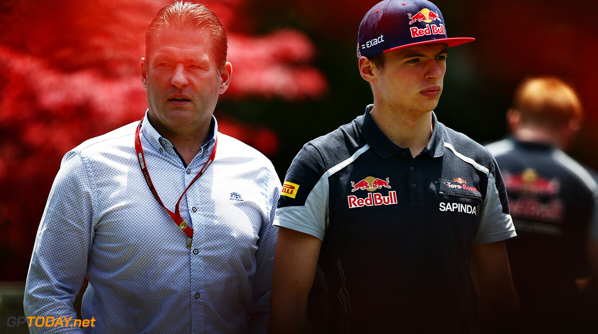 SHANGHAI, CHINA - APRIL 17: Max Verstappen of Netherlands and Scuderia Toro Rosso arrives at the circuit with father Jos Verstappen ahead of the Formula One Grand Prix of China at Shanghai International Circuit on April 17, 2016 in Shanghai, China.  (Photo by Dan Istitene/Getty Images) // Getty Images / Red Bull Content Pool  // P-20160417-00065 // Usage for editorial use only // Please go to www.redbullcontentpool.com for further information. //  F1 Grand Prix of China Dan Istitene Shanghai China  P-20160417-00065