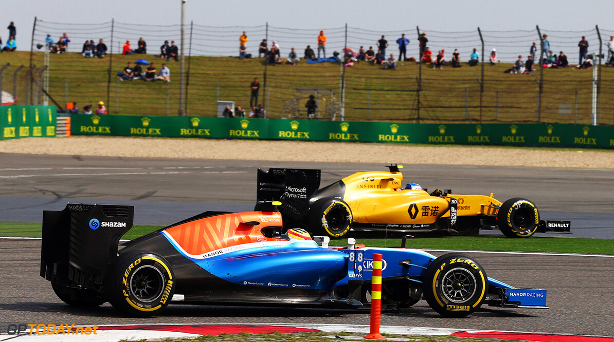 Formula One World Championship Rio Haryanto (IDN) Manor Racing MRT05 as Jolyon Palmer (GBR) Renault Sport F1 Team RS16 runs wide.