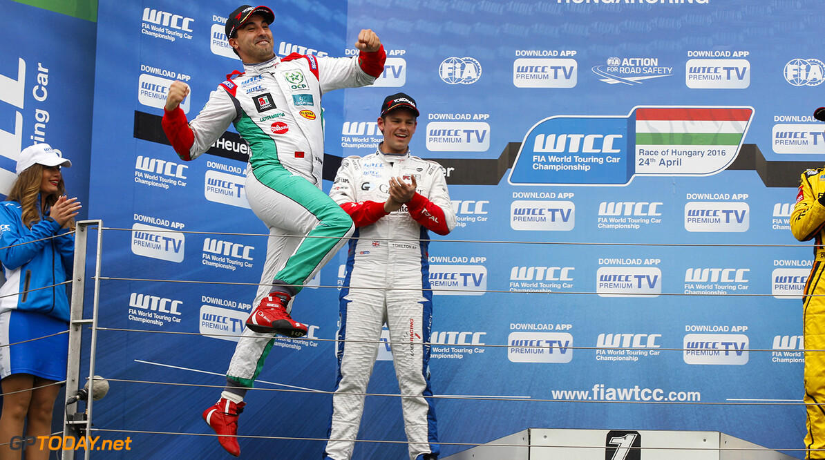 Podium of race 1. BENNANI Mehdi (mar) Citroen C Elysee team Sebastien Loeb racing during the 2016 FIA WTCC World Touring Car Race of Hungary at hungaroring, Budapest from April 22 to 24, 2016 - Photo Florent Gooden / DPPI AUTO - WTCC HUNGARY 2016 Florent Gooden Budapest Hongrie  AUTO AVRIL CHAMPIONNAT DU MONDE CIRCUIT COURSE FIA HONGRIE Motorsport TOURISME WTCC europe