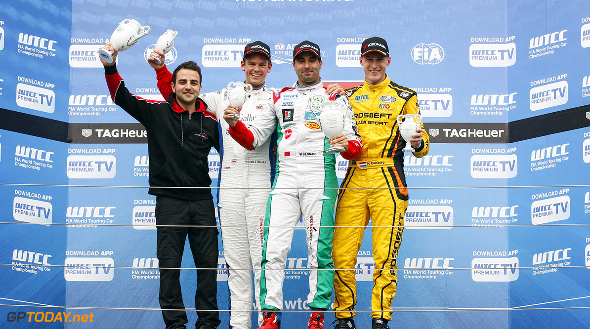 Podium of race 1. BENNANI Mehdi (mar) Citroen C Elysee team Sebastien Loeb racing, CHILTON Tom (gbr) Citroen C Elysee team Sebastien Loeb racing, CATSBURG Nicky (ned) Lada Vesta team Lada Sport Rosneft during the 2016 FIA WTCC World Touring Car Race of Hungary at hungaroring, Budapest from April 22 to 24, 2016 - Photo Florent Gooden / DPPI AUTO - WTCC HUNGARY 2016 Florent Gooden Budapest Hongrie  AUTO AVRIL CHAMPIONNAT DU MONDE CIRCUIT COURSE FIA HONGRIE Motorsport TOURISME WTCC europe