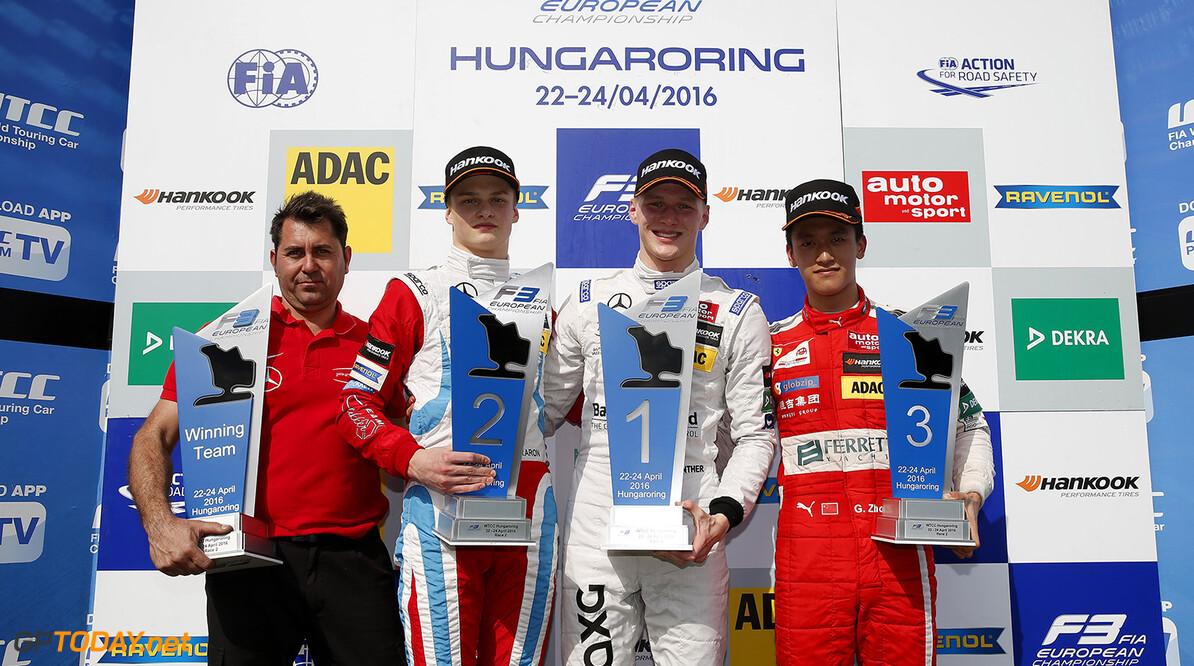 FIA Formula 3 European Championship, round 2, race 2, Hungarorin Prize giving ceremony, 16 Ralf Aron (EST, Prema Powerteam, Dallara F312 - Mercedes-Benz), 17 Maximilian G?nther (DEU, Prema Powerteam, Dallara F312 - Mercedes-Benz), 23 Guanyu Zhou (CHN, Motopark, Dallara F312 - Volkswagen), FIA Formula 3 European Championship, round 2, race 2, Hungaroring (HUN), 22. - 24. April 2016 FIA Formula 3 European Championship 2016, round 2, race 2, Hungaroring (HUN) Thomas Suer Budapest Hungary