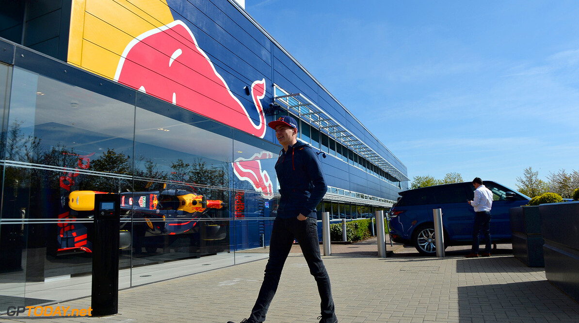 MILTON KEYNES, UNITED KINGDOM - MAY 05:  Max Verstappen of the Netherlands and Red Bull Racing arrives at the Red Bull Racing Factory on May 5, 2016 at the Red Bull Racing Factory, Milton Keynes, England.  (Photo by Tony Marshall/Getty Images) // Getty Images / Red Bull Content Pool  // P-20160505-00235 // Usage for editorial use only // Please go to www.redbullcontentpool.com for further information. //  Max Verstappen at Red Bull Racing Factory Tony Marshall  Spain  P-20160505-00235