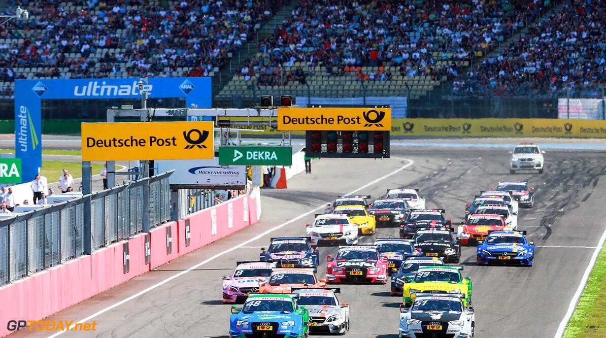 Motorsports / DTM: german touring cars championship - 1. race Hockenheimring, GER, #48 Edoardo Mortara (ITA, Audi Sport Team Abt Sportsline, Audi RS5 DTM), #6 Robert Wickens (GBR, Mercedes-AMG DTM Team HWA, Mercedes-AMG C 63 DTM), #51 Nico M?ller (CH, Audi Sport Team Abt Sportsline, Audi RS5 DTM) Motorsports / DTM 1. race Hockenheimring, GER  Gruppe C GmbH Hockenheim Germany  Aktion - Action Aktionsbild Aktionsfoto Fahrbild Fahrszene - race action Rennen - race Rennszene VersandPartnerDTM VersandPartnerStandard faehrt fahrend