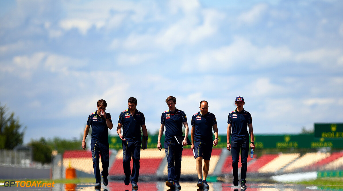 MONTMELO, SPAIN - MAY 12:  Max Verstappen of Netherlands and Red Bull Racing walks the track with Red Bull Racing team members during previews to the Spanish Formula One Grand Prix at Circuit de Catalunya on May 12, 2016 in Montmelo, Spain.  (Photo by Dan Istitene/Getty Images) // Getty Images / Red Bull Content Pool  // P-20160512-00138 // Usage for editorial use only // Please go to www.redbullcontentpool.com for further information. //  Spanish F1 Grand Prix - Previews Dan Istitene  Spain  P-20160512-00138