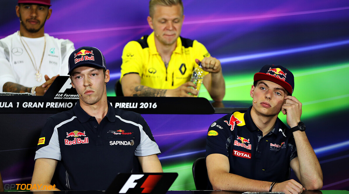 MONTMELO, SPAIN - MAY 12: Max Verstappen of Netherlands and Red Bull Racing and Daniil Kvyat of Russia and Scuderia Toro Rosso in the Drivers Press Conference during previews to the Spanish Formula One Grand Prix at Circuit de Catalunya on May 12, 2016 in Montmelo, Spain.  (Photo by Mark Thompson/Getty Images) // Getty Images / Red Bull Content Pool  // P-20160512-00357 // Usage for editorial use only // Please go to www.redbullcontentpool.com for further information. //  Spanish F1 Grand Prix - Previews Mark Thompson  Spain  P-20160512-00357