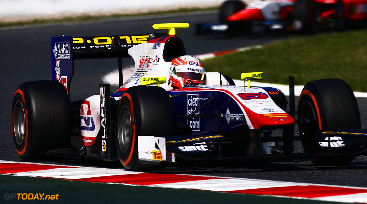 2016 GP2 Series Round 1.  Circuit de Catalunya, Barcelona, Spain. Sunday 15 May 2016. Luca Ghiotto (ITA, Trident)  Photo: Zak Mauger/GP2 Series Media Service. ref: Digital Image _79P1221   Zak Mauger    Race Two 2 Sprint action