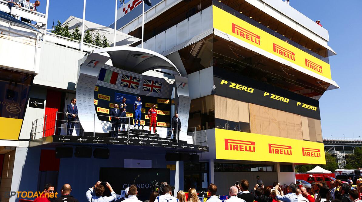 2016 GP2 Series Round 1.  Circuit de Catalunya, Barcelona, Spain. Sunday 15 May 2016. Pierre Gasly (FRA, PREMA, Racing), Alex Lynn, (GBR, DAMS), Jordan King (GBR, Racing Engineering and the Williams F1 team watch the podium. Photo: Zak Mauger/GP2 Series Media Service. ref: Digital Image _L0U9756   Zak Mauger    Race Two 2 Sprint portrait podium