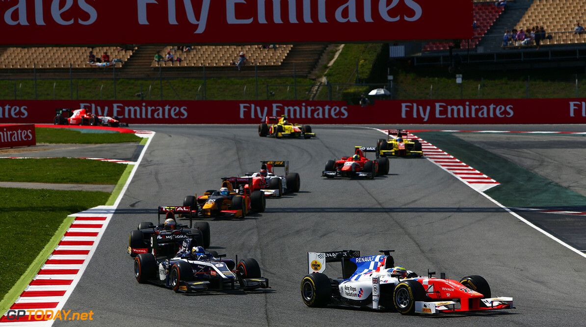 2016 GP2 Series Round 1.  Circuit de Catalunya, Barcelona, Spain. Saturday 14 May 2016. Oliver Rowland (GBR, MP Motorsport). Photo: Zak Mauger/GP2 Series Media Service. ref: Digital Image _L0U8731   Zak Mauger    Race One 1 Feature action