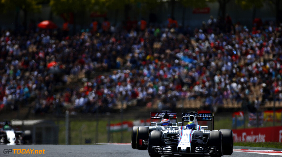 Circuit de Catalunya, Barcelona, Spain. Sunday 15 May 2016. Felipe Massa, Williams FW38 Mercedes, leads Romain Grosjean, Haas VF-16 Ferrari. Photo: Sam Bloxham/Williams ref: Digital Image _L4R0731  Steven Tee    Action