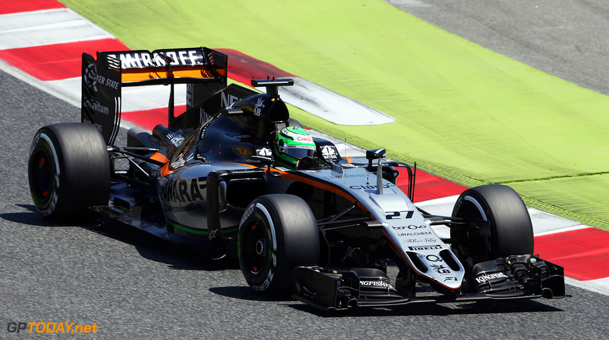 Formula One World Championship Nico Hulkenberg (GER) Sahara Force India F1 VJM09. Spanish Grand Prix, Sunday 17th May 2016. Barcelona, Spain. Motor Racing - Formula One World Championship - Spanish Grand Prix - Race Day - Barcelona, Spain James Moy Photography Barcelona Spain  Formula One Formula 1 F1 GP Grand Prix Spanish Spain Barcelona Catalunya Circuit de Catalunya Montmelo JM565 Hulkenberg H?lkenberg Huelkenberg Action Track GP1605d