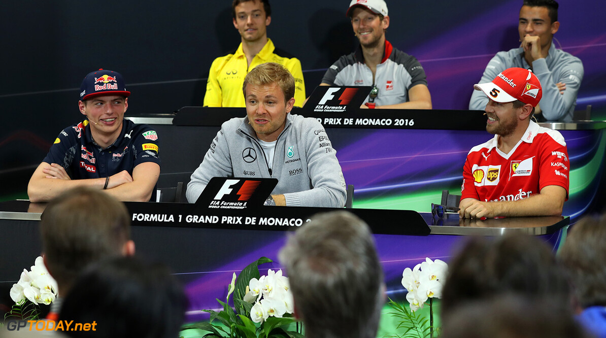 MONTE-CARLO, MONACO - MAY 25:  The Drivers Press Conference with Max Verstappen of Netherlands and Red Bull Racing, Nico Rosberg of Germany and Mercedes GP, Sebastian Vettel of Germany and Ferrari, Pascal Wehrlein of Germany and Manor Racing, Romain Grosjean of France and Haas F1, and Jolyon Palmer of Great Britain and Renault Sport F1 during previews to the Monaco Formula One Grand Prix at Circuit de Monaco on May 25, 2016 in Monte-Carlo, Monaco.  (Photo by Lars Baron/Getty Images) // Getty Images / Red Bull Content Pool  // P-20160525-00411 // Usage for editorial use only // Please go to www.redbullcontentpool.com for further information. //  F1 Grand Prix of Monaco - Previews Lars Baron Monte-Carlo (City) Monaco  P-20160525-00411