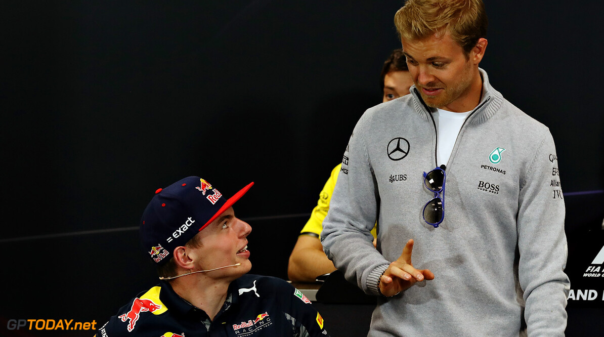 MONTE-CARLO, MONACO - MAY 25:  Max Verstappen of Netherlands and Red Bull Racing talks to Nico Rosberg of Germany and Mercedes GP before the Drivers Press Conference during previews to the Monaco Formula One Grand Prix at Circuit de Monaco on May 25, 2016 in Monte-Carlo, Monaco.  (Photo by Lars Baron/Getty Images) // Getty Images / Red Bull Content Pool  // P-20160525-00351 // Usage for editorial use only // Please go to www.redbullcontentpool.com for further information. //  F1 Grand Prix of Monaco - Previews Lars Baron Monte-Carlo (City) Monaco  P-20160525-00351