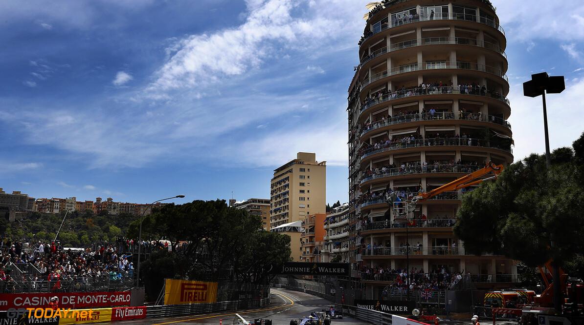 Monte Carlo, Monaco. Sunday 29 May 2016. Valtteri Bottas, Williams FW38 Mercedes, leads Marcus Ericsson, Sauber C35 Ferrari. Photo: Glenn Dunbar/Williams ref: Digital Image _V2I8809      Action