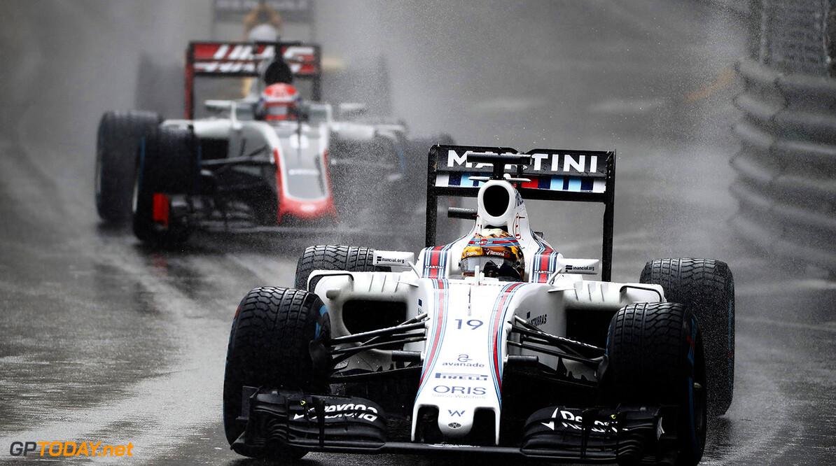 Monte Carlo, Monaco. Sunday 29 May 2016. Felipe Massa, Williams FW38 Mercedes, leads Romain Grosjean, Haas VF-16 Ferrari. Photo: Glenn Dunbar/Williams ref: Digital Image _V2I8259      Action