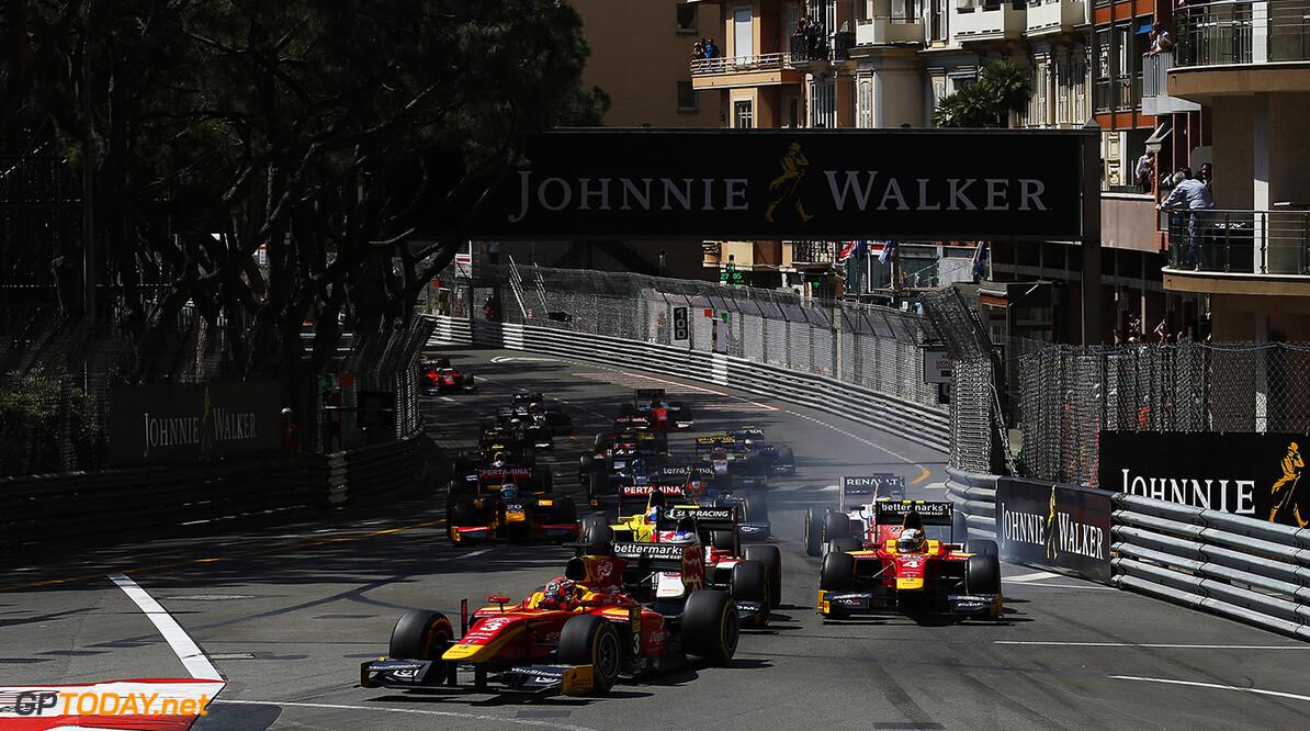 2016 GP2 Series Round 2 Monte Carlo, Monaco. Friday 27 May 2016. Norman Nato (FRA, Racing Engineering) leads Sergey Sirotkin (RUS, ART Grand Prix) & Jordan King (GBR, Racing Engineering, at the start Photo: Sam Bloxham/GP2 Series Media Service. ref: Digital Image _L4R4564  Sam Bloxham    Race 1 one feature action start