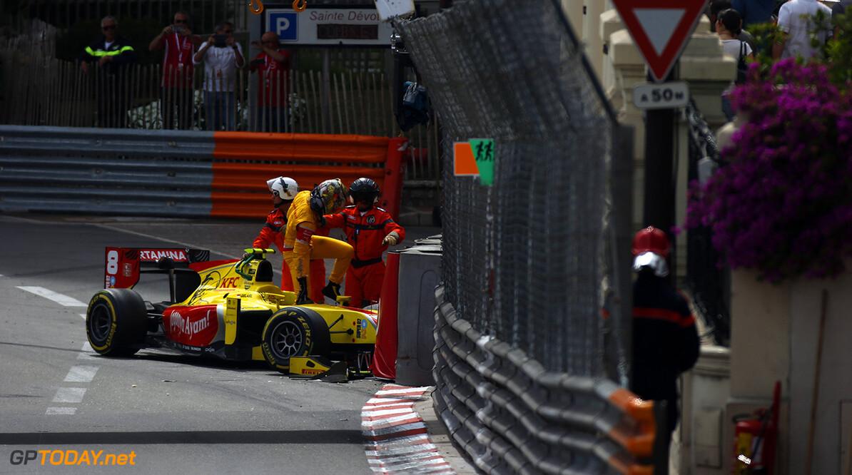 2016 GP2 Series Round 2 Monte Carlo, Monaco. Saturday 28 May 2016. Sean Gelael (INA, Pertamina Campos Racing) climbs out of his car Photo: Sam Bloxham/GP2 Series Media Service. ref: Digital Image _L4R5485  Sam Bloxham    Race 2 two sprint action