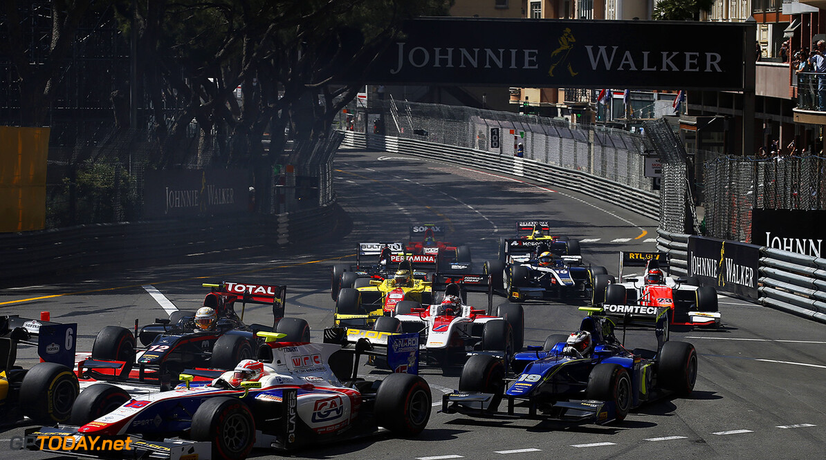 2016 GP2 Series Round 2 Monte Carlo, Monaco. Friday 27 May 2016. Luca Ghiotto (ITA, Trident), leads Arthur Pic (FRA, Rapax) & Marvin Kirchhofer (GER, Carlin), at the start Photo: Sam Bloxham/GP2 Series Media Service. ref: Digital Image _L4R4574  Sam Bloxham    Race 1 one feature action start