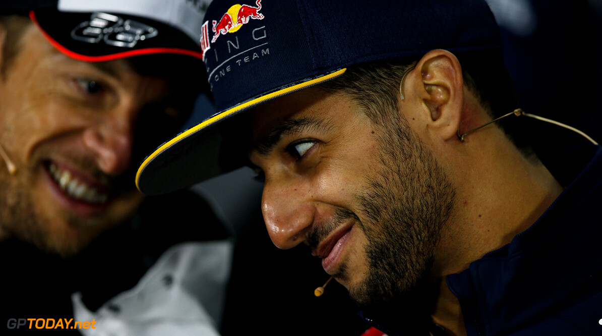 MONTREAL, QC - JUNE 09:  Daniel Ricciardo of Australia and Red Bull Racing and Jenson Button of Great Britain and McLaren Honda talk in the Drivers Press Conference during previews to the Canadian Formula One Grand Prix at Circuit Gilles Villeneuve on June 9, 2016 in Montreal, Canada.  (Photo by Charles Coates/Getty Images) // Getty Images / Red Bull Content Pool  // P-20160609-00683 // Usage for editorial use only // Please go to www.redbullcontentpool.com for further information. //  Canadian F1 Grand Prix - Previews Charles Coates Montreal (City) Canada  P-20160609-00683
