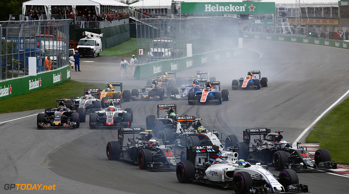 Circuit Gilles Villeneuve, Montreal, Canada. Sunday 12 June 2016. Felipe Massa, Williams FW38 Mercedes, leads Fernando Alonso, McLaren MP4-31 Honda, Jenson Button, McLaren MP4-31 Honda, Sergio Perez, Force India VJM09 Mercedes, and the remainder of the field at the start. Photo: Glenn Dunbar/Williams ref: Digital Image _V2I4661      Action Start