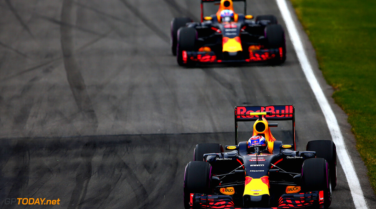 MONTREAL, QC - JUNE 12:  Max Verstappen of the Netherlands driving the (33) Red Bull Racing Red Bull-TAG Heuer RB12 TAG Heuer leads Daniel Ricciardo of Australia driving the (3) Red Bull Racing Red Bull-TAG Heuer RB12  TAGHeuer on trackduring the Canadian Formula One Grand Prix at Circuit Gilles Villeneuve on June 12, 2016 in Montreal, Canada.  (Photo by Dan Istitene/Getty Images) // Getty Images / Red Bull Content Pool  // P-20160612-01371 // Usage for editorial use only // Please go to www.redbullcontentpool.com for further information. //  Canadian F1 Grand Prix Dan Istitene Montreal (City) Canada  P-20160612-01371