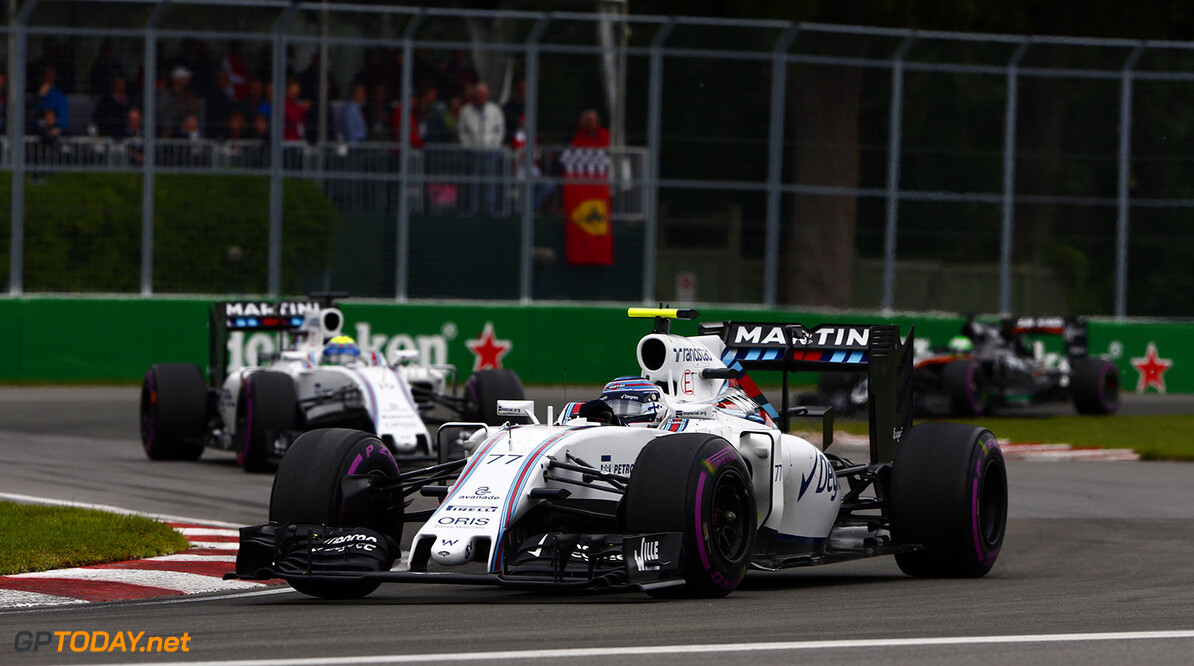 Circuit Gilles Villeneuve, Montreal, Canada. Sunday 12 June 2016. Valtteri Bottas, Williams FW38 Mercedes, leads Felipe Massa, Williams FW38 Mercedes. Photo: Zak Mauger/Williams ref: Digital Image _79P3988      Action