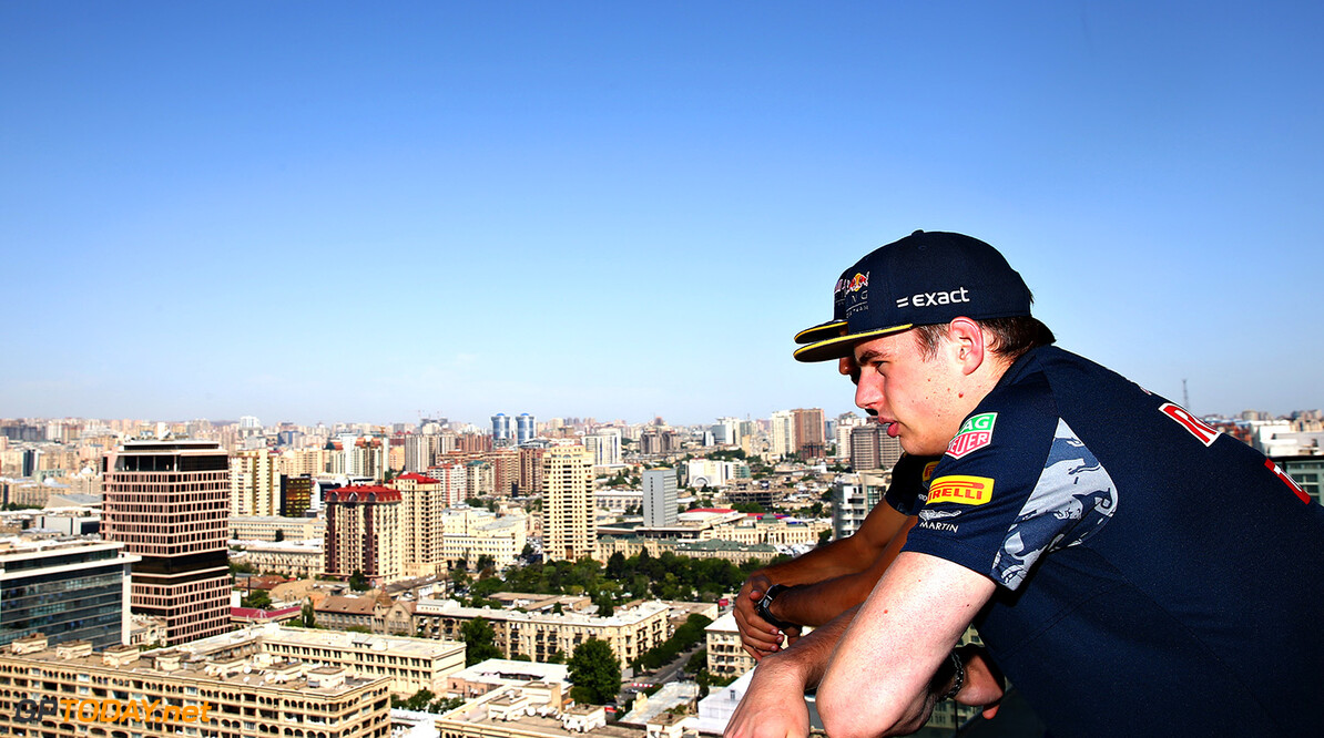 BAKU, AZERBAIJAN - JUNE 16:  Daniel Ricciardo of Australia and Red Bull Racing and Max Verstappen of Netherlands and Red Bull Racing look over the circuit during previews ahead of the European Formula One Grand Prix at Baku City Circuit on June 16, 2016 in Baku, Azerbaijan.  (Photo by Dan Istitene/Getty Images,) // Getty Images / Red Bull Content Pool  // P-20160616-00149 // Usage for editorial use only // Please go to www.redbullcontentpool.com for further information. //  European F1 Grand Prix - Previews Dan Istitene  Azerbaijan  P-20160616-00149