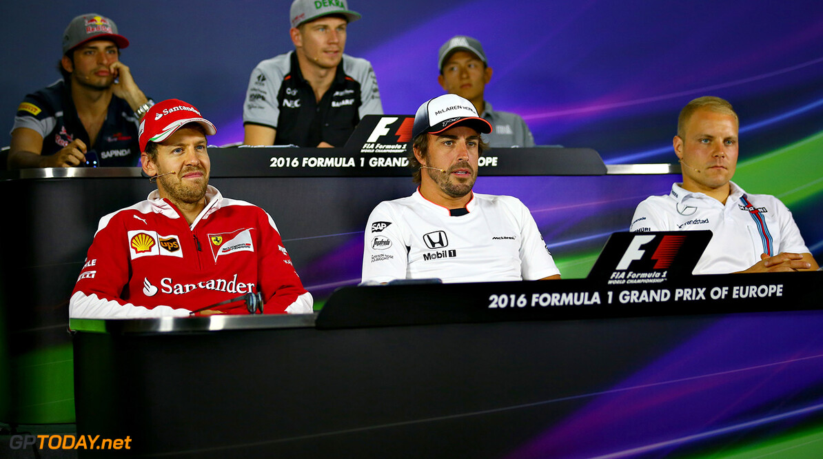 BAKU, AZERBAIJAN - JUNE 16: The Drivers Press Conference featuring, Carlos Sainz of Spain and Scuderia Toro Rosso, Nico Hulkenberg of Germany and Force India, Rio Haryanto of Indonesia and Manor Racing, Valtteri Bottas of Finland and Williams, Fernando Alonso of Spain and McLaren Honda and Sebastian Vettel of Germany and Ferrari during previews ahead of the European Formula One Grand Prix at Baku City Circuit on June 16, 2016 in Baku, Azerbaijan.  (Photo by Dan Istitene/Getty Images,) // Getty Images / Red Bull Content Pool  // P-20160616-00315 // Usage for editorial use only // Please go to www.redbullcontentpool.com for further information. //  European F1 Grand Prix - Previews Dan Istitene  Azerbaijan  P-20160616-00315