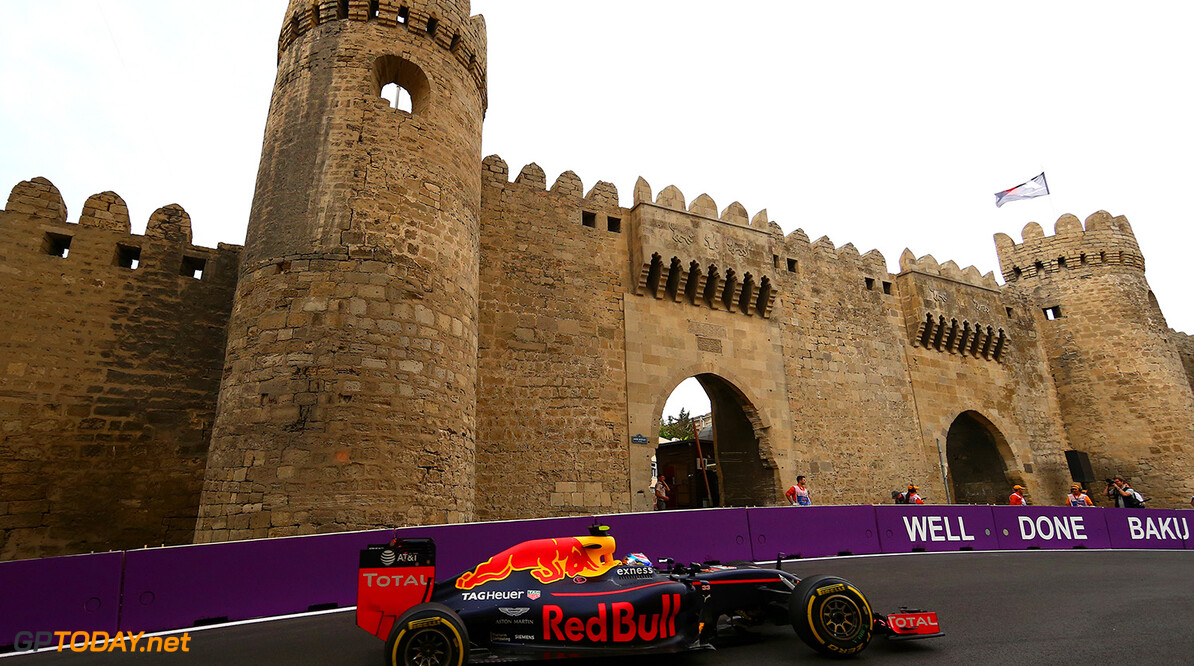 BAKU, AZERBAIJAN - JUNE 17: Max Verstappen of the Netherlands driving the (33) Red Bull Racing Red Bull-TAG Heuer RB12 TAG Heuer on track during practice for the European Formula One Grand Prix at Baku City Circuit on June 17, 2016 in Baku, Azerbaijan.  (Photo by Dan Istitene/Getty Images) // Getty Images / Red Bull Content Pool  // P-20160617-01687 // Usage for editorial use only // Please go to www.redbullcontentpool.com for further information. //  European F1 Grand Prix - Practice Dan Istitene  Azerbaijan  P-20160617-01687