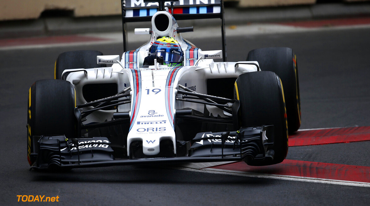 Baku City Circuit, Baku, Azerbaijan. Friday 17 June 2016. Felipe Massa, Williams FW38 Mercedes. Photo: Glenn Dunbar/Williams ref: Digital Image _W2Q7248      Action