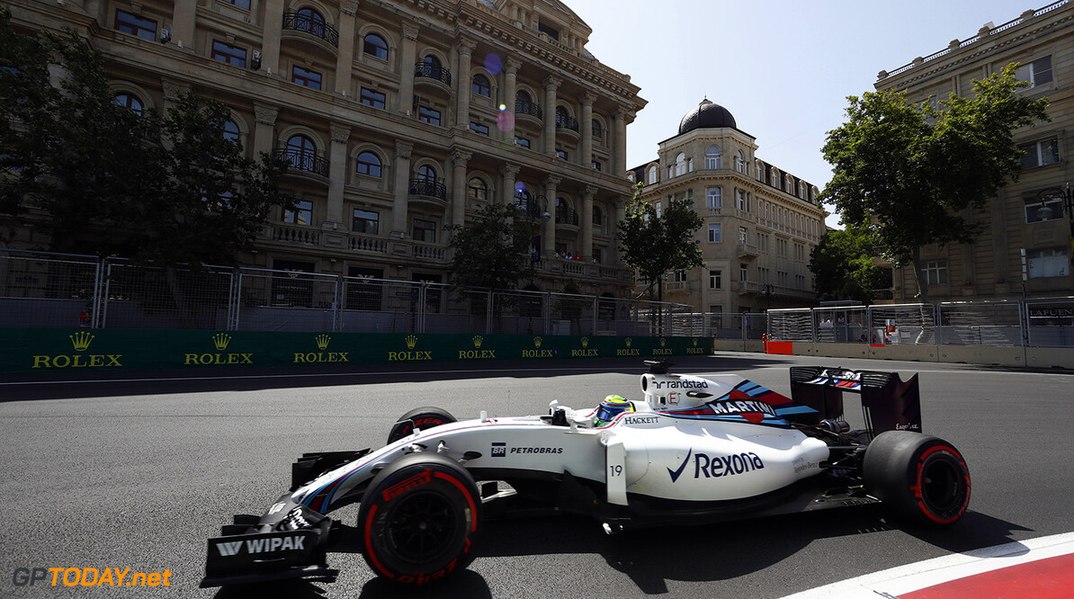 Baku City Circuit, Baku, Azerbaijan. Saturday 18 June 2016. Felipe Massa, Williams FW38 Mercedes. Photo: Glenn Dunbar/Williams ref: Digital Image _V2I9844      Action