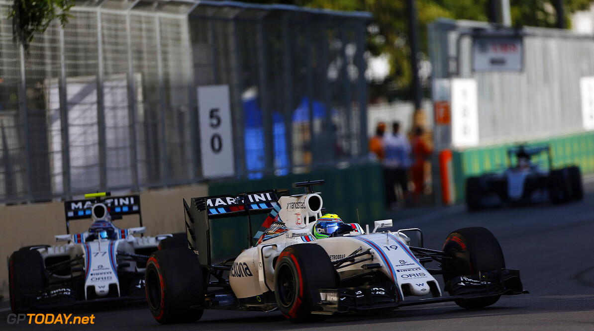 Baku City Circuit, Baku, Azerbaijan. Sunday 19 June 2016. Felipe Massa, Williams FW38 Mercedes, leads Valtteri Bottas, Williams FW38 Mercedes. Photo: Andrew HoneWilliams ref: Digital Image _ONZ2101      Action