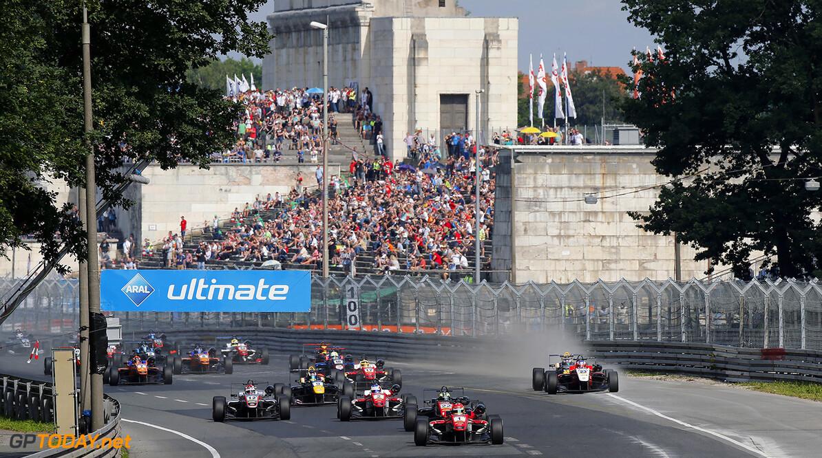 FIA Formula 3 European Championship, round 5, race 1, Norisring  Start of the race, 1 Lance Stroll (CAN, Prema Powerteam, Dallara F312 - Mercedes-Benz) taking the lead from 22 Joel Eriksson (SWE, Motopark, Dallara F312 - Volkswagen), 2 Nick Cassidy (NZL, Prema Powerteam, Dallara F312 - Mercedes-Benz), FIA Formula 3 European Championship, round 5, race 1, Norisring (DEU), 24. - 26. June 2016 FIA Formula 3 European Championship 2016, round 5, race 1, Norisring (DEU) Thomas Suer N?rnberg Germany
