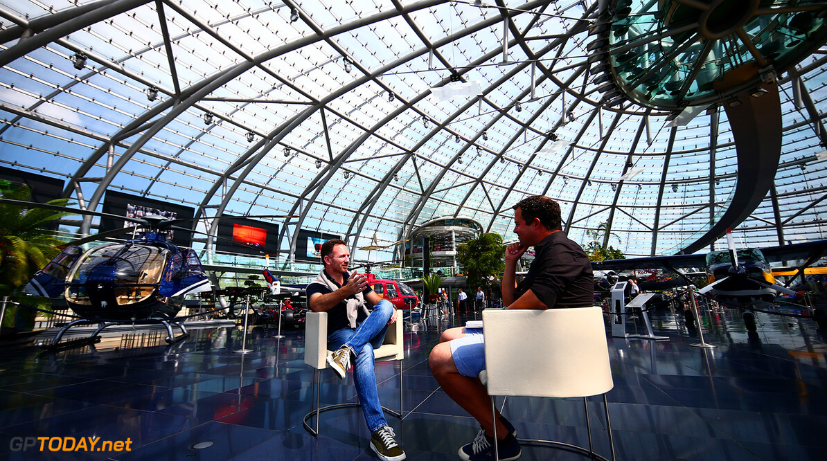 SALZBURG, AUSTRIA - JUNE 29:  Red Bull Racing Team Principal Christian Horner speaks with Sky Sports' Ted Kravitz after a Red Bull Racing media flight to Hangar 7 on June 29, 2016 in Salzburg, Austria.  (Photo by Dan Istitene/Getty Images) // Getty Images/Red Bull Content Pool // P-20160629-00718 // Usage for editorial use only // Please go to www.redbullcontentpool.com for further information. //  Red Bull Racing Flight To Hangar 7 Dan Istitene Salzburg Austria  P-20160629-00718
