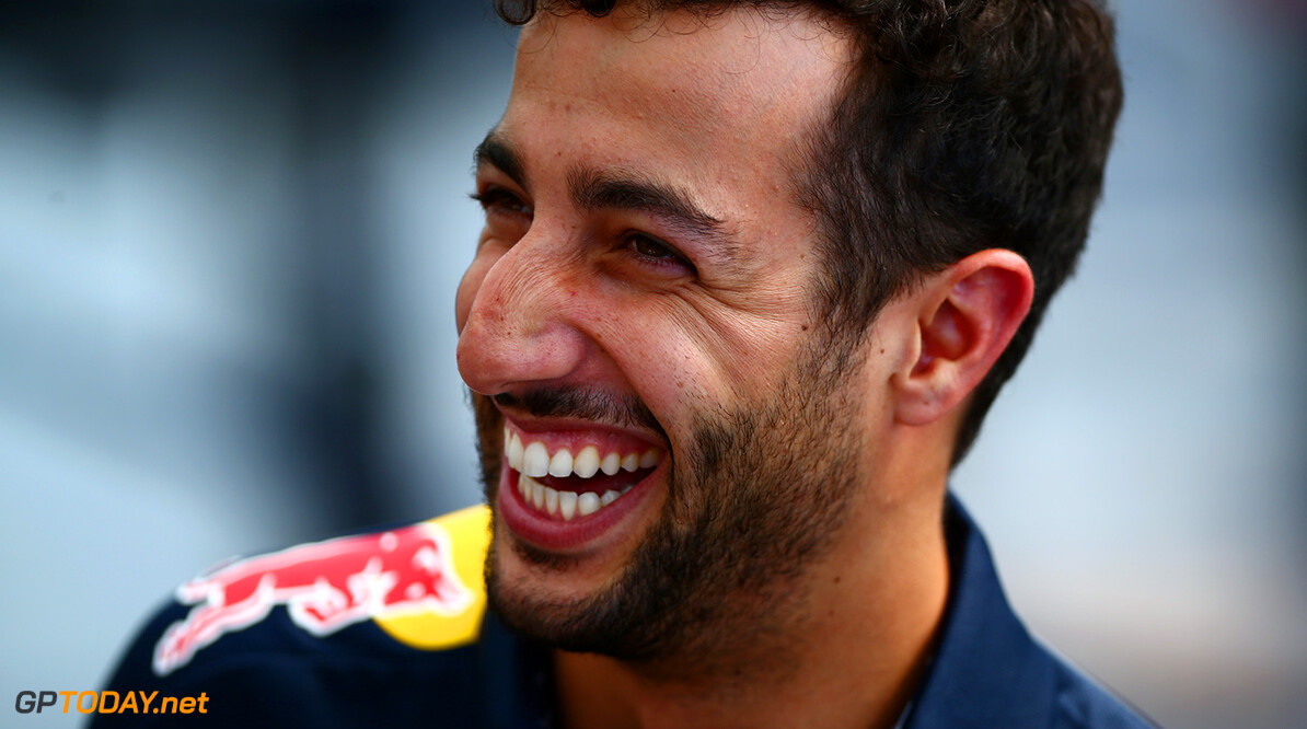 SALZBURG, AUSTRIA - JUNE 29:  Daniel Ricciardo of Australia and Red Bull Racing speaks with members of the media after a Red Bull Racing media flight to Hangar 7 on June 29, 2016 in Salzburg, Austria.  (Photo by Dan Istitene/Getty Images) // Getty Images/Red Bull Content Pool // P-20160629-00754 // Usage for editorial use only // Please go to www.redbullcontentpool.com for further information. //  Red Bull Racing Flight To Hangar 7 Dan Istitene Salzburg Austria  P-20160629-00754
