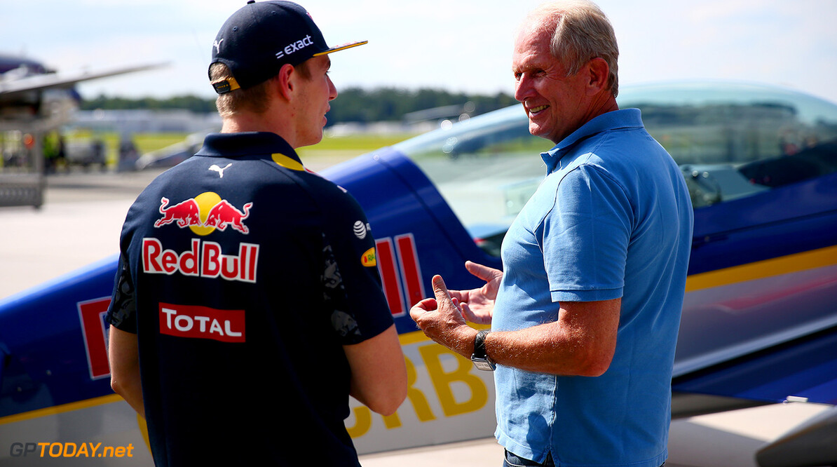 SALZBURG, AUSTRIA - JUNE 29:  Max Verstappen of Netherlands and Red Bull Racing speaks with Red Bull Racing Team Consultant Dr Helmut Marko after a Red Bull Racing media flight to Hangar 7 on June 29, 2016 in Salzburg, Austria.  (Photo by Dan Istitene/Getty Images) // Getty Images/Red Bull Content Pool // P-20160629-00655 // Usage for editorial use only // Please go to www.redbullcontentpool.com for further information. //  Red Bull Racing Flight To Hangar 7 Dan Istitene Salzburg Austria  P-20160629-00655