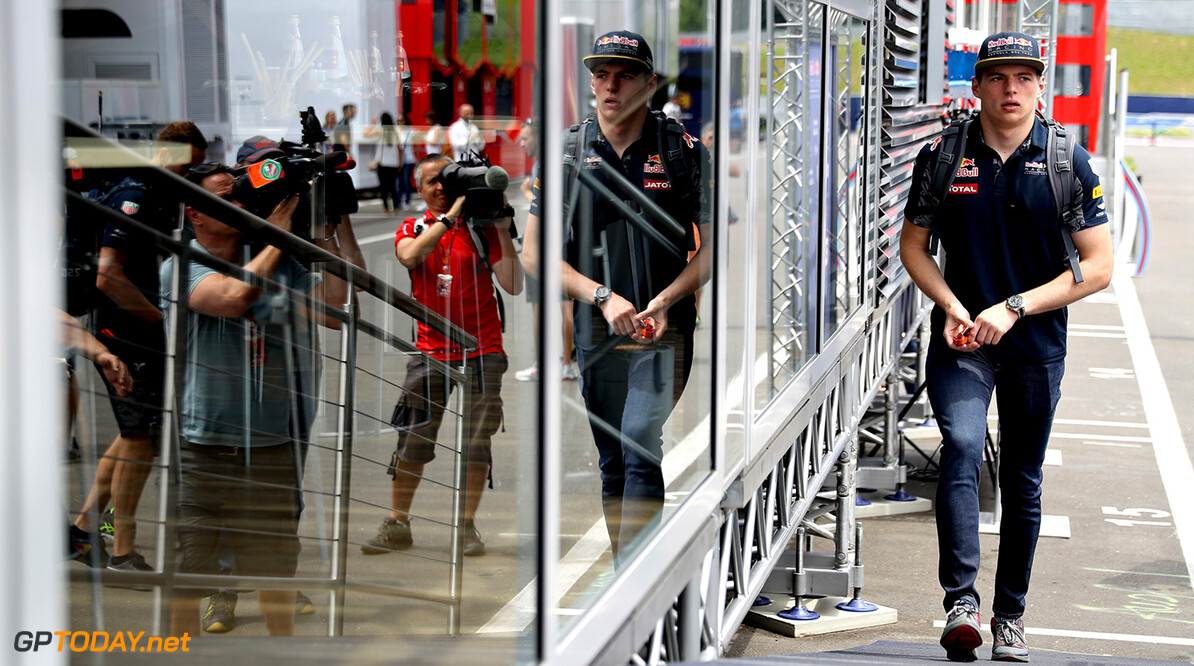 SPIELBERG, AUSTRIA - JUNE 30:  Max Verstappen of Netherlands and Red Bull Racing walks in the Paddock during previews ahead of the Formula One Grand Prix of Austria at Red Bull Ring on June 30, 2016 in Spielberg, Austria.  (Photo by Mark Thompson/Getty Images) // Getty Images / Red Bull Content Pool  // P-20160630-00203 // Usage for editorial use only // Please go to www.redbullcontentpool.com for further information. //  F1 Grand Prix of Austria - Previews Mark Thompson Spielberg Germany  P-20160630-00203