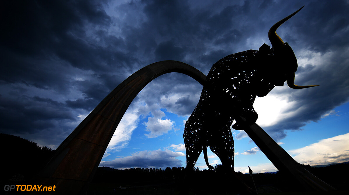 SPIELBERG, AUSTRIA - JUNE 30:  A general view of the Red Bull statue during previews ahead of the home race of Red Bull Racing and Formula One Grand Prix of Austria at Red Bull Ring on June 30, 2016 in Spielberg, Austria.  (Photo by Dan Istitene/Getty Images) // Getty Images / Red Bull Content Pool  // P-20160701-00204 // Usage for editorial use only // Please go to www.redbullcontentpool.com for further information. //  F1 Grand Prix of Austria - Previews Dan Istitene Spielberg Germany  P-20160701-00204