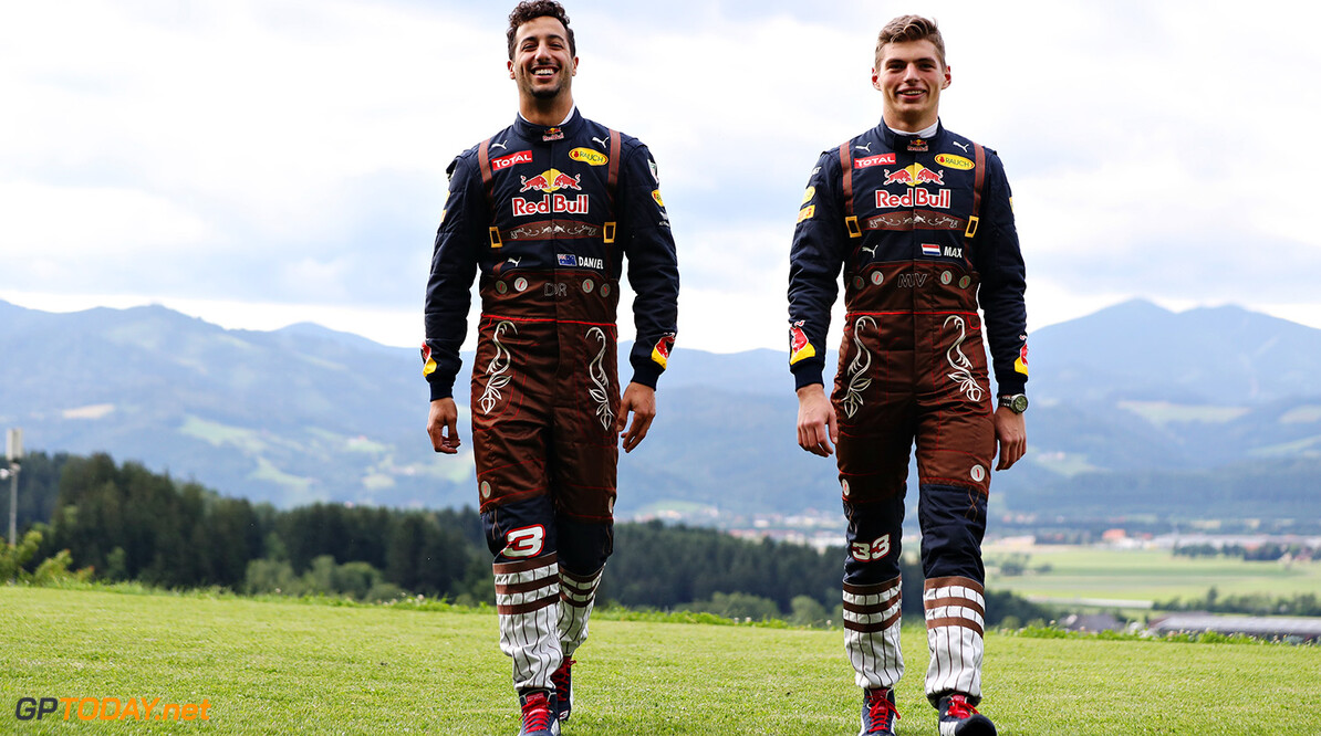 SPIELBERG, AUSTRIA - JUNE 30:  Daniel Ricciardo of Australia and Red Bull Racing and Max Verstappen of Netherlands and Red Bull Racing in their lederhosen themed race suits during previews ahead of the Formula One Grand Prix of Austria at Red Bull Ring on June 30, 2016 in Spielberg, Austria.  (Photo by Mark Thompson/Getty Images) // Getty Images / Red Bull Content Pool  // P-20160701-02129 // Usage for editorial use only // Please go to www.redbullcontentpool.com for further information. //  F1 Grand Prix of Austria - Previews Mark Thompson Spielberg Germany  P-20160701-02129