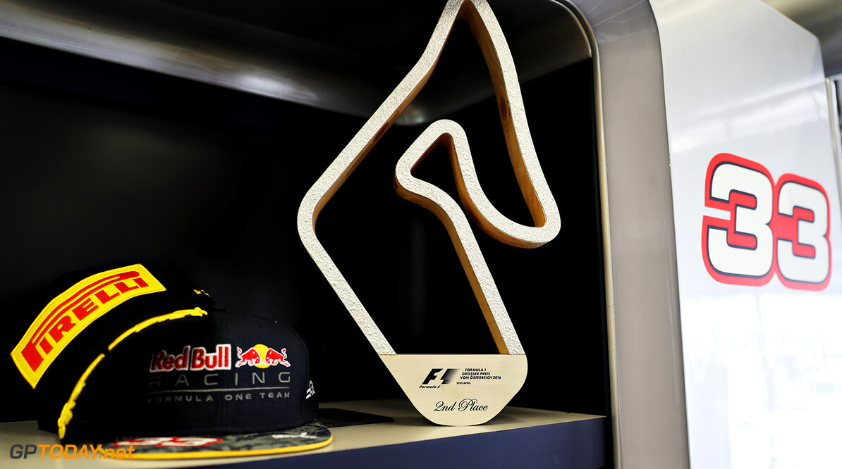 SPIELBERG, AUSTRIA - JULY 03:  The second place trophy of Max Verstappen of Netherlands and Red Bull Racing  in the Red Bull Racing garage during the Formula One Grand Prix of Austria at Red Bull Ring on July 3, 2016 in Spielberg, Austria.  (Photo by Mark Thompson/Getty Images) // Getty Images / Red Bull Content Pool  // P-20160703-01758 // Usage for editorial use only // Please go to www.redbullcontentpool.com for further information. //  F1 Grand Prix of Austria Mark Thompson Spielberg Germany  P-20160703-01758