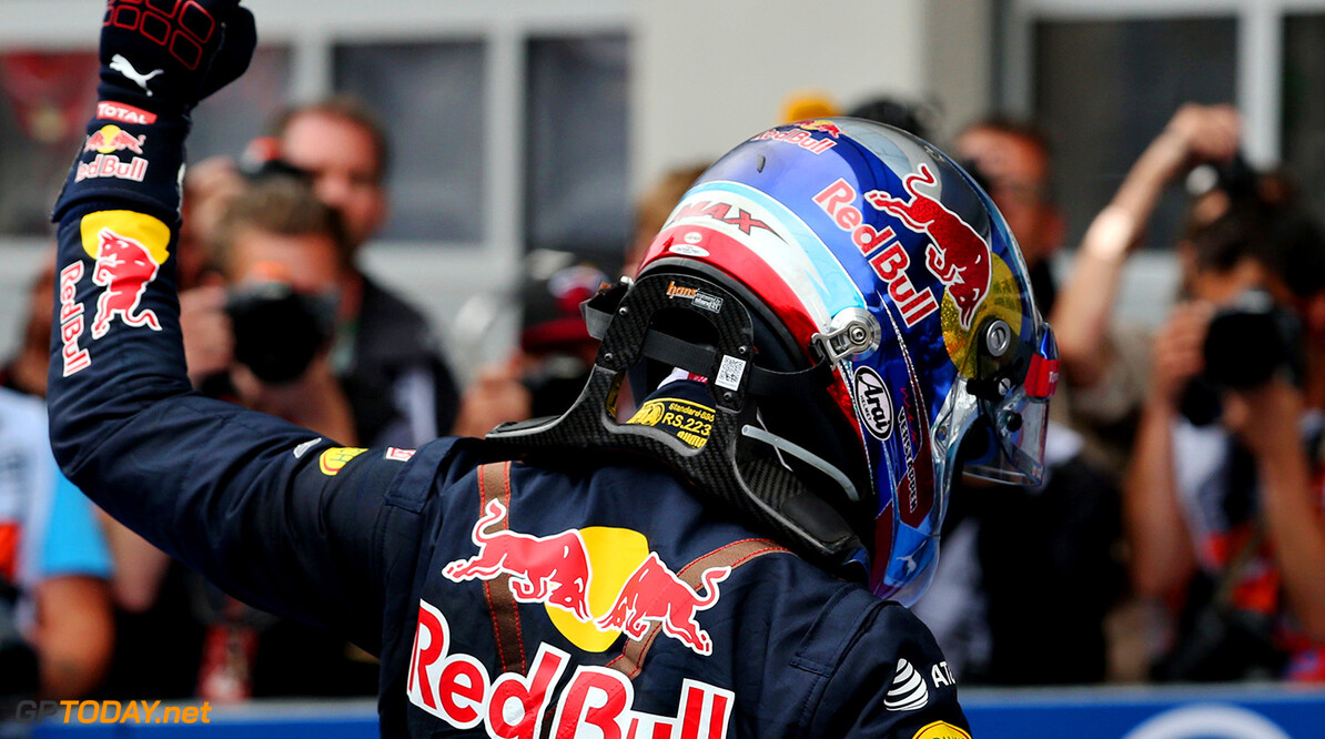 SPIELBERG, AUSTRIA - JULY 03:  Max Verstappen of Netherlands and Red Bull Racing celebrates his second place finish in parc ferme during the Formula One Grand Prix of Austria at Red Bull Ring on July 3, 2016 in Spielberg, Austria.  (Photo by Charles Coates/Getty Images) // Getty Images / Red Bull Content Pool  // P-20160703-02016 // Usage for editorial use only // Please go to www.redbullcontentpool.com for further information. //  F1 Grand Prix of Austria Charles Coates Spielberg Germany  P-20160703-02016