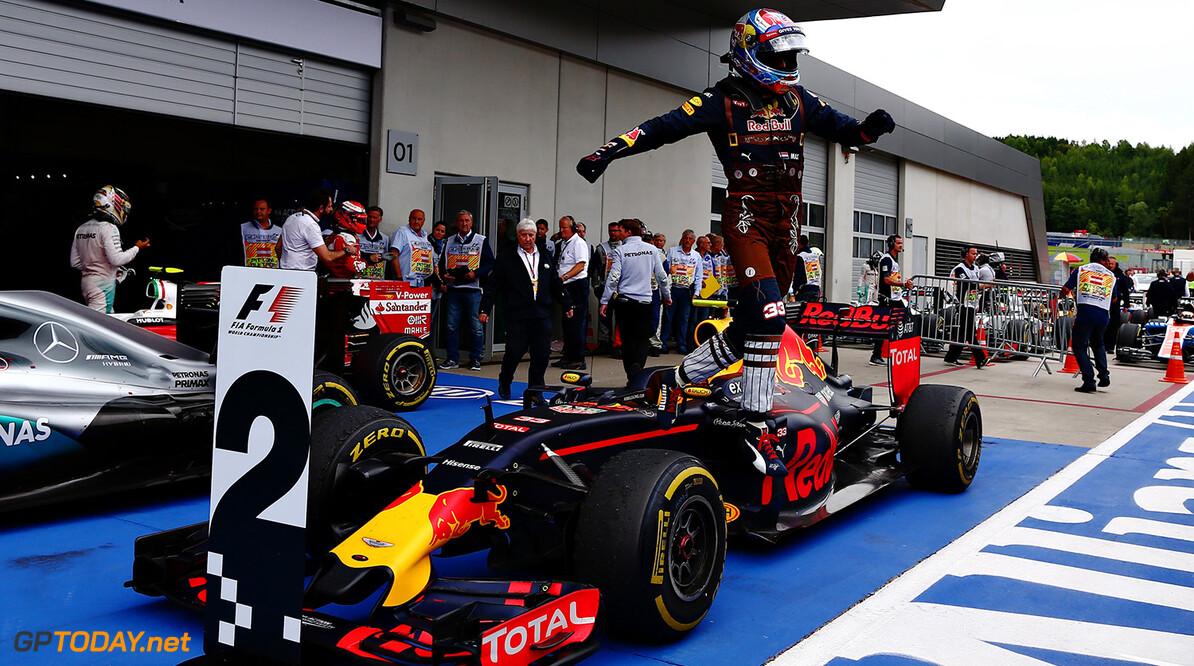 SPIELBERG, AUSTRIA - JULY 03: Max Verstappen of Netherlands and Red Bull Racing jumps off his car to celebrate his second place finish in parc ferme after the Formula One Grand Prix of Austria at Red Bull Ring on July 3, 2016 in Spielberg, Austria.  (Photo by Getty Images/Getty Images) // Getty Images / Red Bull Content Pool  // P-20160703-02134 // Usage for editorial use only // Please go to www.redbullcontentpool.com for further information. //  F1 Grand Prix of Austria Getty Images Spielberg Germany  P-20160703-02134