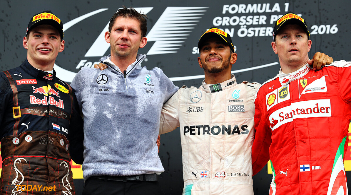 SPIELBERG, AUSTRIA - JULY 03:  Top three finishers, Lewis Hamilton of Great Britain and Mercedes GP, Max Verstappen of Netherlands and Red Bull Racing and Kimi Raikkonen of Finland and Ferrari on the podium during the Formula One Grand Prix of Austria at Red Bull Ring on July 3, 2016 in Spielberg, Austria.  (Photo by Mark Thompson/Getty Images) // Getty Images / Red Bull Content Pool  // P-20160703-03026 // Usage for editorial use only // Please go to www.redbullcontentpool.com for further information. //  F1 Grand Prix of Austria Mark Thompson Spielberg Germany  P-20160703-03026