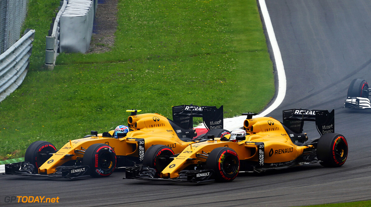 Formula One World Championship Jolyon Palmer (GBR) Renault Sport F1 Team RS16 and team mate Kevin Magnussen (DEN) Renault Sport F1 Team RS16 at the start of the race. Austrian Grand Prix, Sunday 3rd July 2016. Spielberg, Austria. Motor Racing - Formula One World Championship - Austrian Grand Prix - Race Day - Spielberg, Austria Renault Sport Formula One Team Spielberg Austria  Formula One Formula 1 F1 GP Grand Prix Circuit Austria Austrian Spielberg Zeltweg JM592 Action Track GP1609d