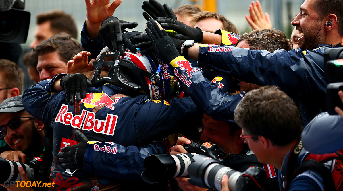 SPIELBERG, AUSTRIA - JULY 03:  Max Verstappen of Netherlands and Red Bull Racing celebrates in parc ferme after finishing second in the Formula One Grand Prix of Austria at Red Bull Ring on July 3, 2016 in Spielberg, Austria.  (Photo by Dan Istitene/Getty Images) // Getty Images / Red Bull Content Pool  // P-20160703-02149 // Usage for editorial use only // Please go to www.redbullcontentpool.com for further information. //  F1 Grand Prix of Austria Dan Istitene Spielberg Germany  P-20160703-02149