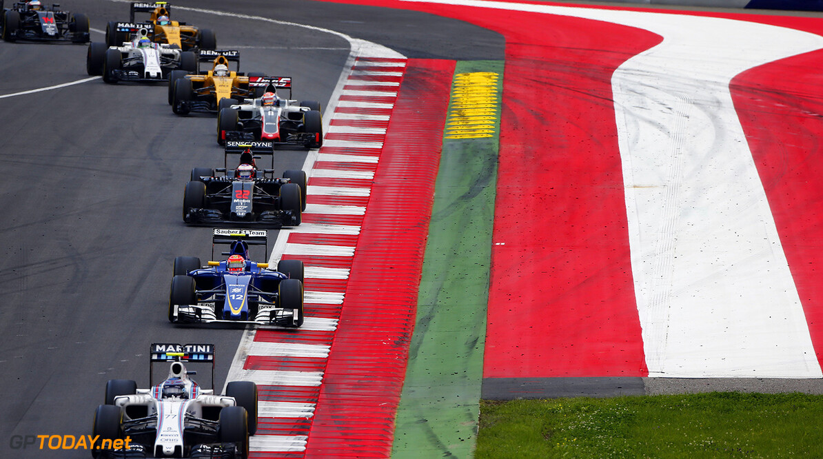 Red Bull Ring, Spielberg, Austria. Sunday 3 July 2016. Valtteri Bottas, Williams FW38 Mercedes, leads Felipe Nasr, Sauber C35 Ferrari, Jenson Button, McLaren MP4-31 Honda, Romain Grosjean, Haas VF-16 Ferrari, Kevin Magnussen, Renault RE16, and Felipe Massa, Williams FW38 Mercedes. Photo: Andrew Hone/Williams ref: Digital Image _ONZ7420      Action