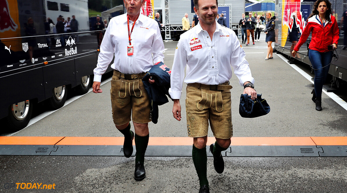SPIELBERG, AUSTRIA - JULY 03: Red Bull Racing Team Principal Christian Horner and Red Bull Racing Team Consultant Dr Helmut Marko wear lederhosen before the Formula One Grand Prix of Austria at Red Bull Ring on July 3, 2016 in Spielberg, Austria.  (Photo by Mark Thompson/Getty Images) // Getty Images / Red Bull Content Pool  // P-20160703-01611 // Usage for editorial use only // Please go to www.redbullcontentpool.com for further information. //  F1 Grand Prix of Austria Mark Thompson Spielberg Germany  P-20160703-01611