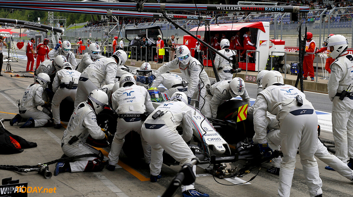 Red Bull Ring, Spielberg, Austria. Sunday 3 July 2016. Felipe Massa, Williams FW38 Mercedes, makes a pit stop during the race. Photo: Glenn Dunbar/Williams ref: Digital Image _W2Q2106      Action Pit Stops